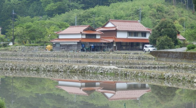 水を張った田んぼに映る古民家(5月14日)